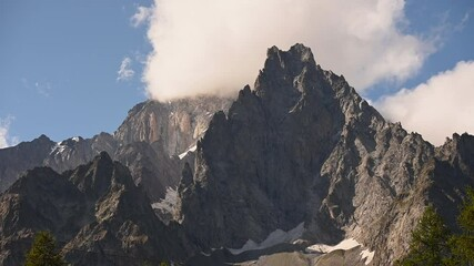 Wall Mural - Massive Granite Peaks of the Mont Blanc Massif in Italy Entrèves Region