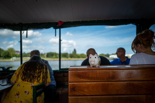 A piggy bank on a boat in Wilhelmshaven