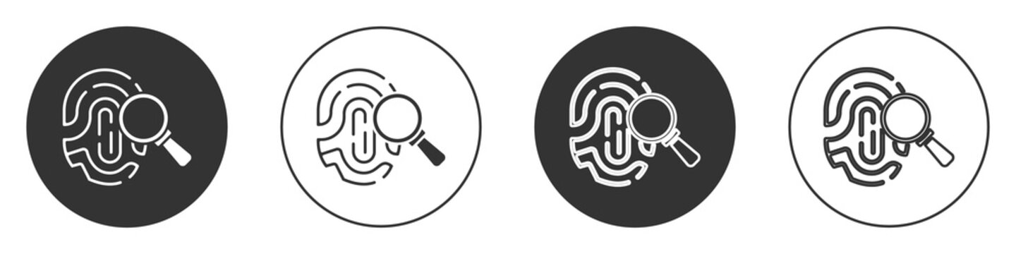 Black Magnifying glass with fingerprint icon isolated on white background. Identification sign. Circle button. Vector.