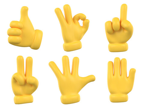 Set of hands gesture icons and symbols. Yellow emoji hand icons. Different gestures, hands, signals and signs, 3d illustration.