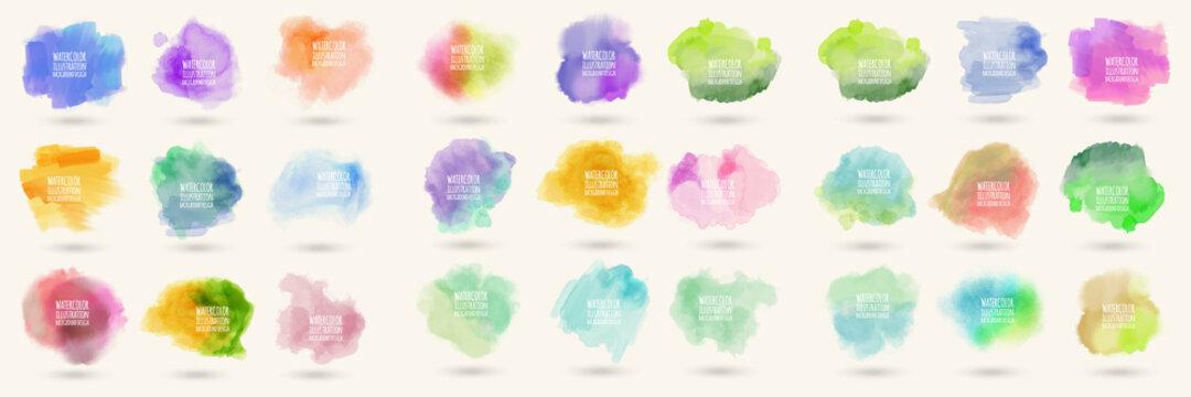 Colors watercolor paint stains vector backgrounds