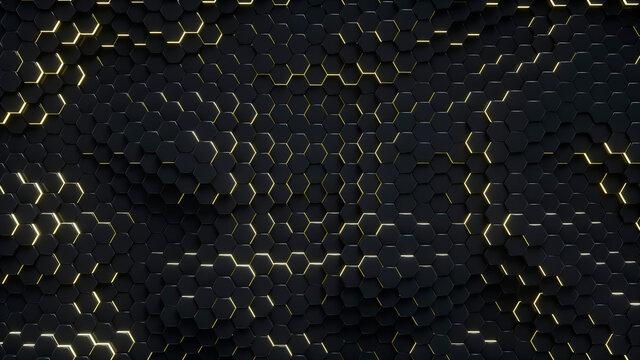 Dark abstract hexagons background. 3D render.