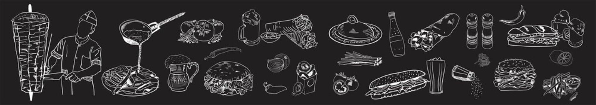 Doner kebab cooking and ingredients for kebab. Shawarma hand drawn. Fast food menu design elements. Restaurant cafe template design. Vector.