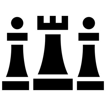 Different chess pieces in an icon showing the concept of strategic planning