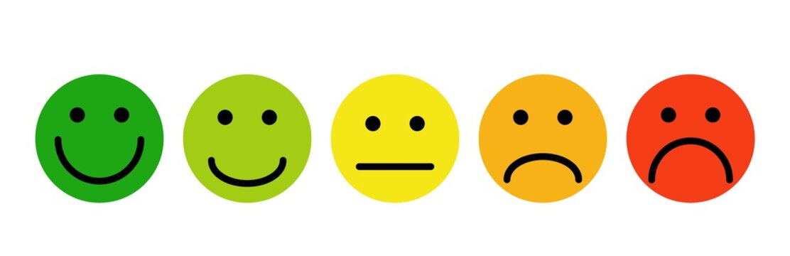Simple emoji feedback face. Testimonial each green client reaction service from yellow admiration with eyes.