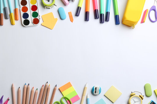 School stationery on white background, flat lay with space for text. Back to school