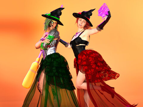 3D Photo of Two Young Women Dressed as Witches for Halloween