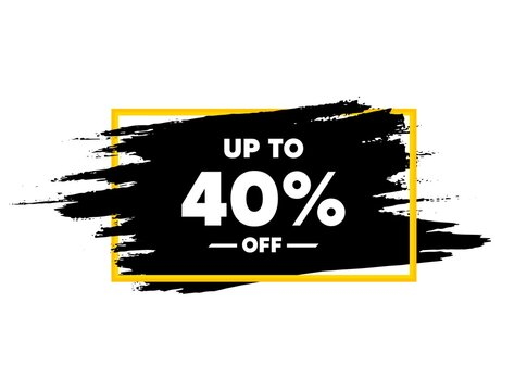 Up to 40% off Sale. Paint brush stroke in frame. Discount offer price sign. Special offer symbol. Save 40 percentages. Paint brush ink splash banner. Discount tag badge shape. Vector