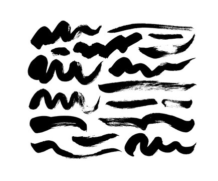 Black paint wavy brush strokes vector collection. Dirty curved lines and wavy brushstrokes. Ink illustration isolated on white background. Modern grunge brush lines. Calligraphy smears, stamps.