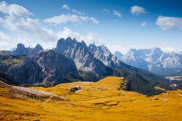 Wall Mural - Great view of the Cadini di Misurina range in national park Tre Cime di Lavaredo.