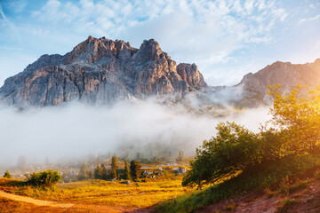 Wall Mural - Breathtaking view of the Mt. Tofana di Rozes from Falzarego pass.