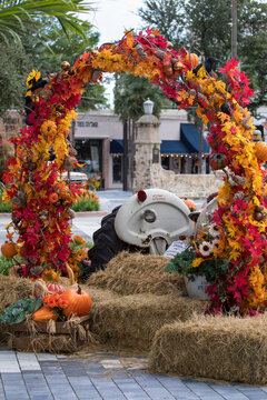 Fall decoration arch at Miracle Mile in coral gables