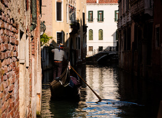 Venice gondola on the canal