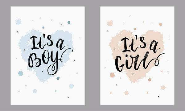 """Lettering for newborns in black letters, the phrases """"this is a boy"""" and """"This is a girl"""". For postcards, banners and other cute baby items, print for clothes."""