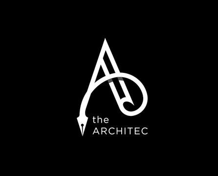 architect agency vector logo design. Letter A icon symbol sign
