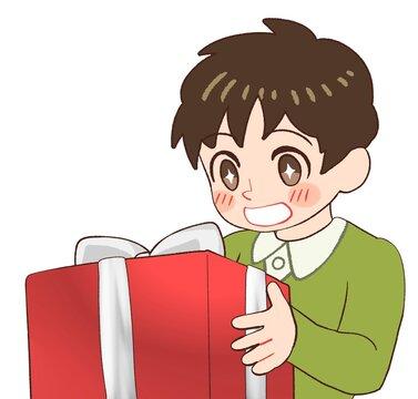 プレゼントをもらって喜ぶ男の子のイラスト
