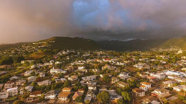 Aerial photography of Manoa Valley, Honolulu, Oahu, Hawaii