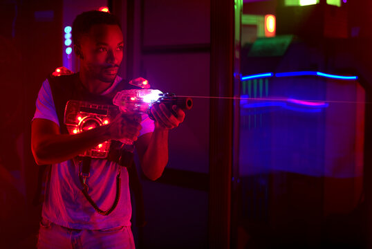 laser tag tactical game just for fun forces mission science fiction playing in red light