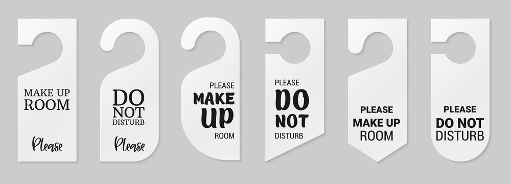 Door hangers for hotel room. Set of white label hanger with text for hotel or resort. Template, mockup with text Do not disturb and Make up room. Vector illustration for promotion, sale, decoration