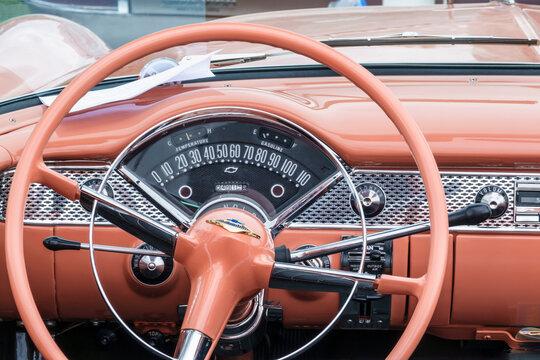 Steering wheel and speedometer in an old Chevrolet, bel air