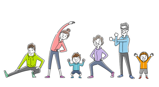 イラスト素材:運動、スポーツ、体操をする家族、人々