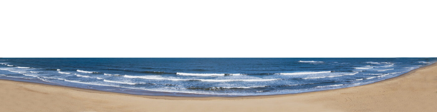 Sea horizon and beach isolated on white background