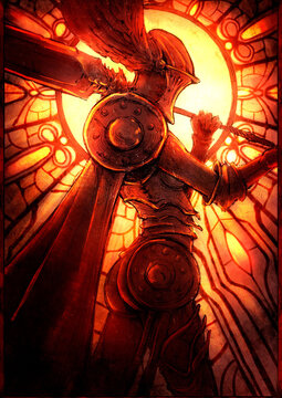 A female knight in plate armor, wearing a helmet with wings, and a huge heavy sword on her shoulder, stands against the background of a round stained-glass window. 2D i