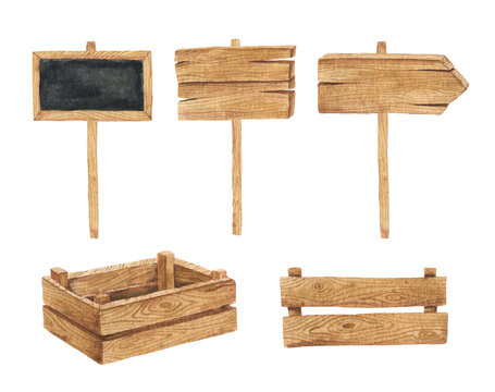 Watercolor illustration hand draw wooden signs, boards and boxes isolated on white background