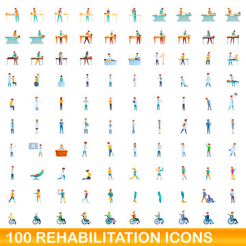 100 rehabilitation icons set. Cartoon illustration of 100 rehabilitation icons vector set isolated on white background