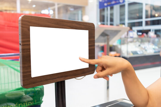 hands pointing at empty small placard in frame for copy space text isolated background.