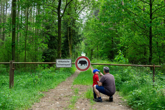 Father and son are standing in the forest on a path that is closed with a barrier.
