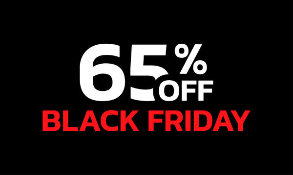 65 percent price off icon or label. Black Friday Sale banner. Discount badge design. Vector illustration.