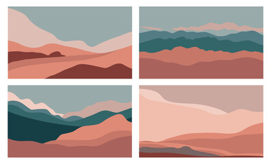 Vector set of abstract creative backgrounds in minimal trendy style with copy space for text  and mountain landscape - design templates for social media stories