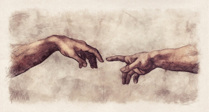 The Creation of Adam digital pencil and watercolor sketch reproduction from a section of Michelangelo's fresco Sistine Chapel ceiling in the style of old drawings.