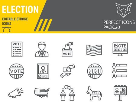 Voting and Election line icon set, vote collection, vector sketches, logo illustrations, Elections icons, Voting 2020 signs linear pictograms, editable stroke.