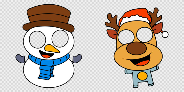Snowman and deer characters for kids. Reindeer mask with transparent eyes. Snowman funny cartoon with carrot nose. Isolated Christmas collection for children. Masquerade party. EPS 10.