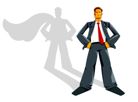 Big boss businessman stands confident and serious like a superhero vector illustration, powerful business man, manager capitalism success.