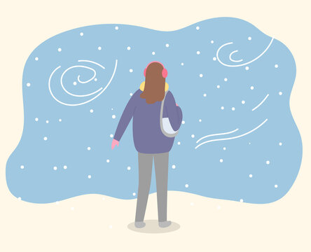 Woman stand in winter park alone. Lady walk through forest in warm clothes like coat and with handbag. Beautiful snowy landscape with windy weather. Vector illustration of walking in flat style