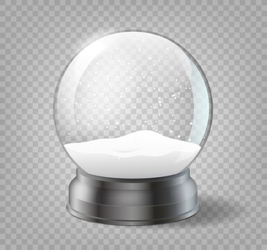 Christmas snowglobe on transparent background. Realistic traditional winter holiday decoration