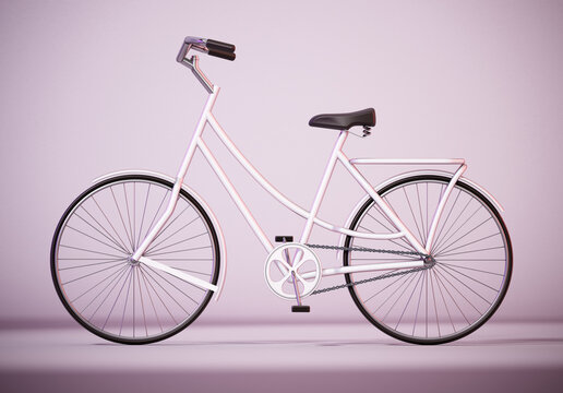 Vintage bicycle with soft shadows. 3D illustration