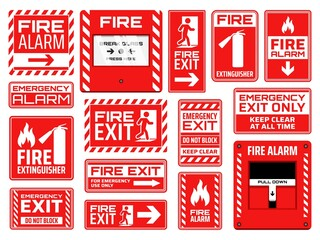 Fire emergency signs vector design of fire exit, extinguisher, alarm button and pull station, safety and evacuation icons. Red and white warning symbols with human figures, arrows, flames and doors Wall mural