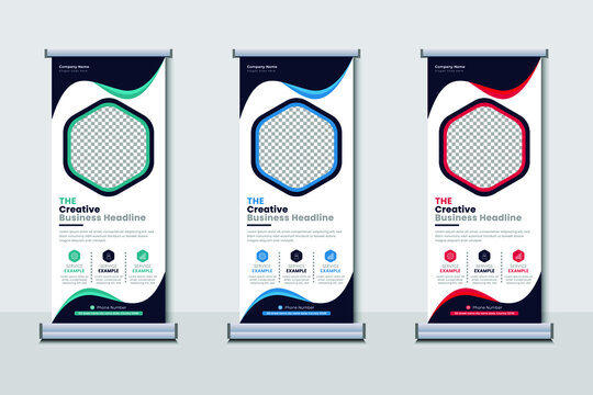 Creative business agency stands roll up banner design for your business. Roll-up template for exhibition, Corporate Business stand banner, editable roll up banner vector template.