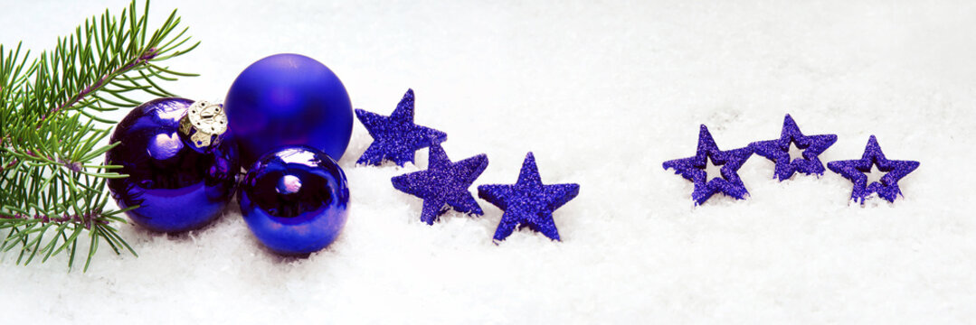 Christmas banner with blue stars and baubles, headline