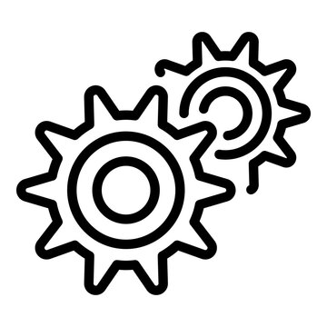 Gear car icon. Outline gear car vector icon for web design isolated on white background
