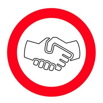 Stop no handshake icon. Forbidden shaking hands.  Shake hands. Stop the covid coronavirus epidemie,. Flat vector sign.