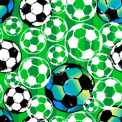 seamless background pattern, with soccer / football, paint strokes and splashes, grungy