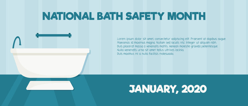 Banner for national bath safety month. Bathtub with grab bars and non slip mat. Safe interior for seniors and elderly people. Vector flat horizontal illustration with copy space