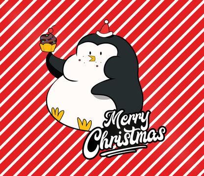 Pinguin Weihnachten Merry Christmas Lustig Kuchen Cupcake Muffin Advent Torte Fett Übergewicht Comic Illustration Kampagne