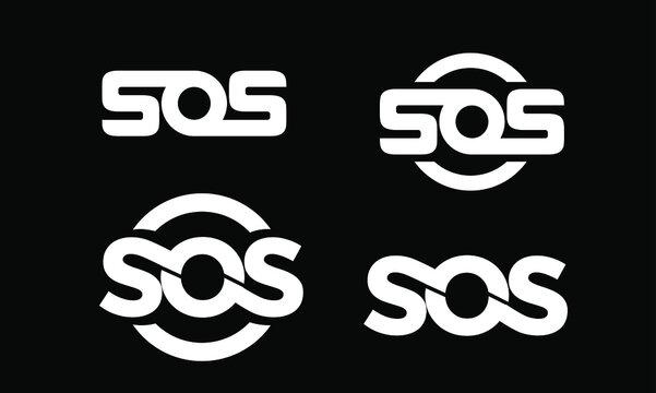 set collection sos black with circle  logo icon design vector