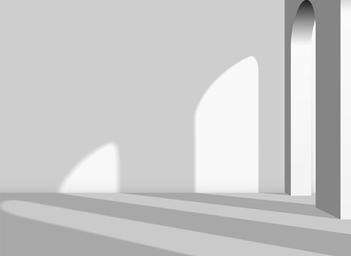 Abstract architectural 3D background with arches and columns in the white room with shadows. Interior with copyspace